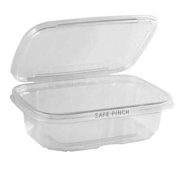 Safe Pinch Tamper Evident Rectangle Hinged Container (592ml)