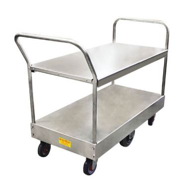 6 Wheel Wide Stock Twin Platform Trolley (Twin Handles)
