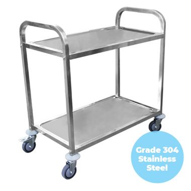 2 Tier (950 x 500mm) Grade 304 SS Service Trolley