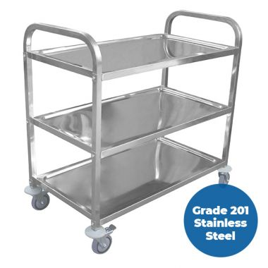 3 Tier (950 x 500mm) Grade 201 SS Service Trolley