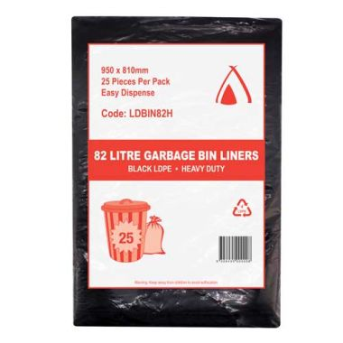 82L Heavy Duty LDPE Bin Liner (Black)
